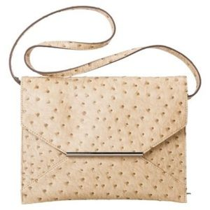 Tan Ostrich Leather Envelope Purse/Clutch